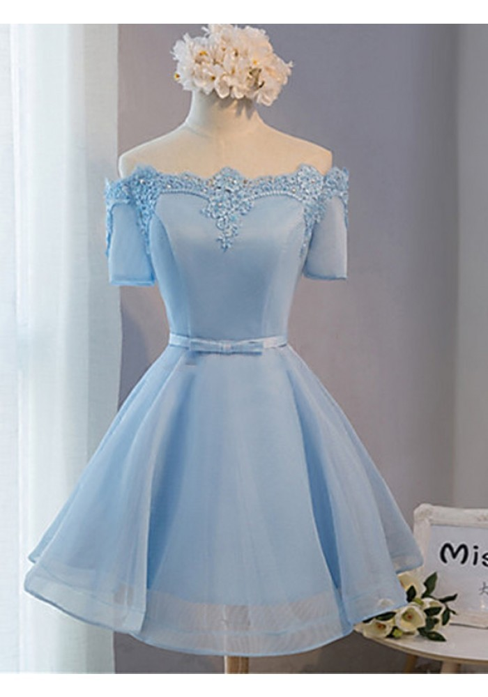 Elegant Off The Shoulder Lace Satin Short Prom Dresses Baby Blue Dress Sleeves Homecoming Tail Party